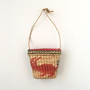 Vintage Wicker Rattan Small Purse With Lid Boho